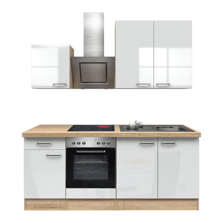 Küchenzeile Louis – Einbaugeräte – Spüle – 210 cm – Hochglanz Weiß – Eiche Sonoma Dekor, Modus Küchen jetzt bestellen