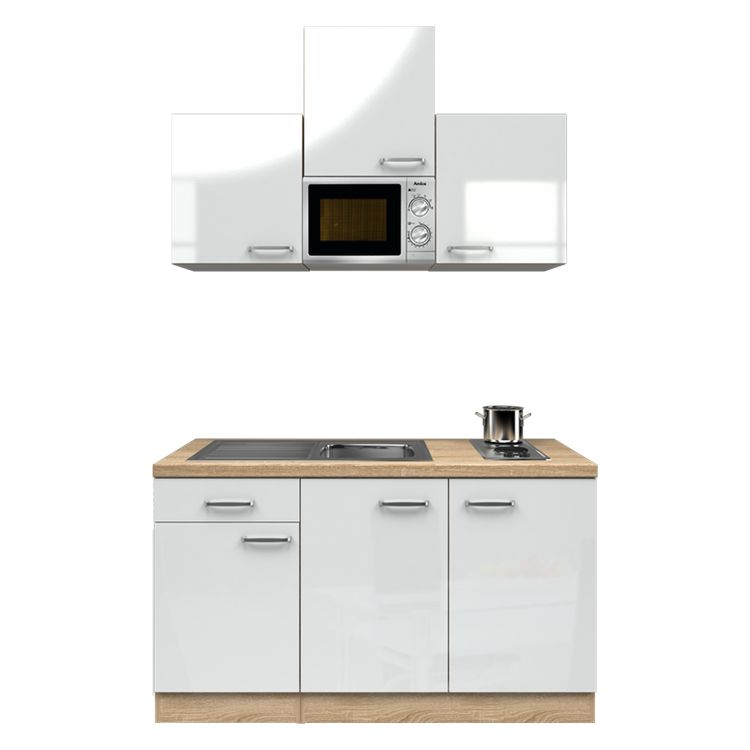 Küchenzeile Anton – Einbaugeräte – Spüle – 150 cm – Hochglanz Weiß – Eiche Sonoma Dekor, Modus Küchen kaufen
