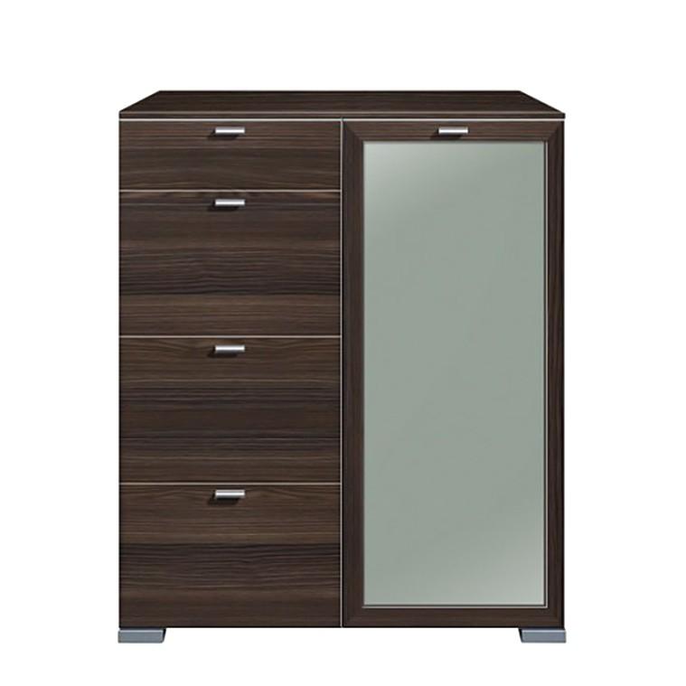 hochkommode gallery 4 schubkasten und t r rechts floatglas esche dunkel. Black Bedroom Furniture Sets. Home Design Ideas
