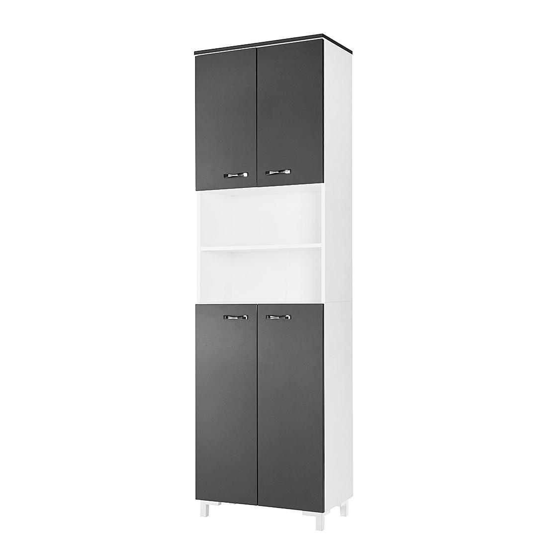 Hochschrank Montreal II – Weiß/Hochglanz Grafit – 60 cm, Fackelmann jetzt bestellen