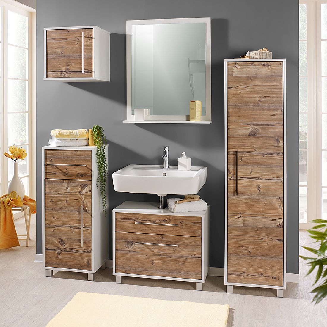 hochschrank moncton silberfichte dekor wei kommode highboard anrichte ebay. Black Bedroom Furniture Sets. Home Design Ideas