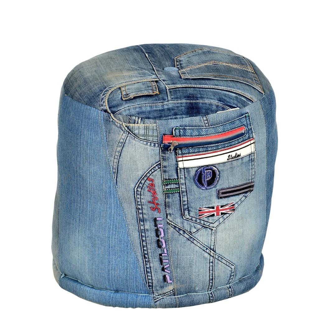 Hocker Creditana – Blau – Jeansstoff, furnlab günstig bestellen