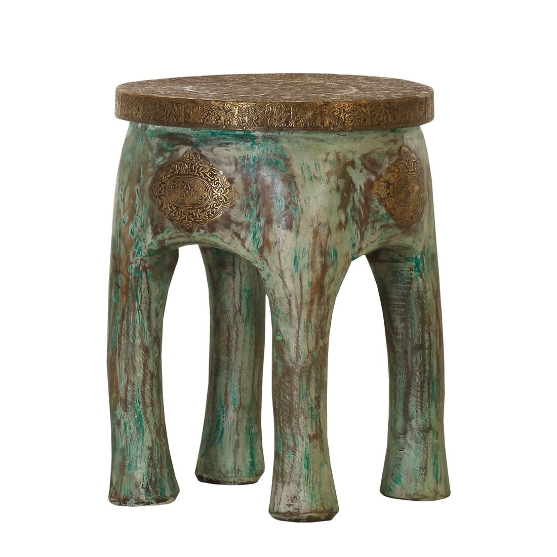 Hocker Himba – Mango Massiv – gebeizt/lackiert – Braun/Grün, ars manufacti online kaufen