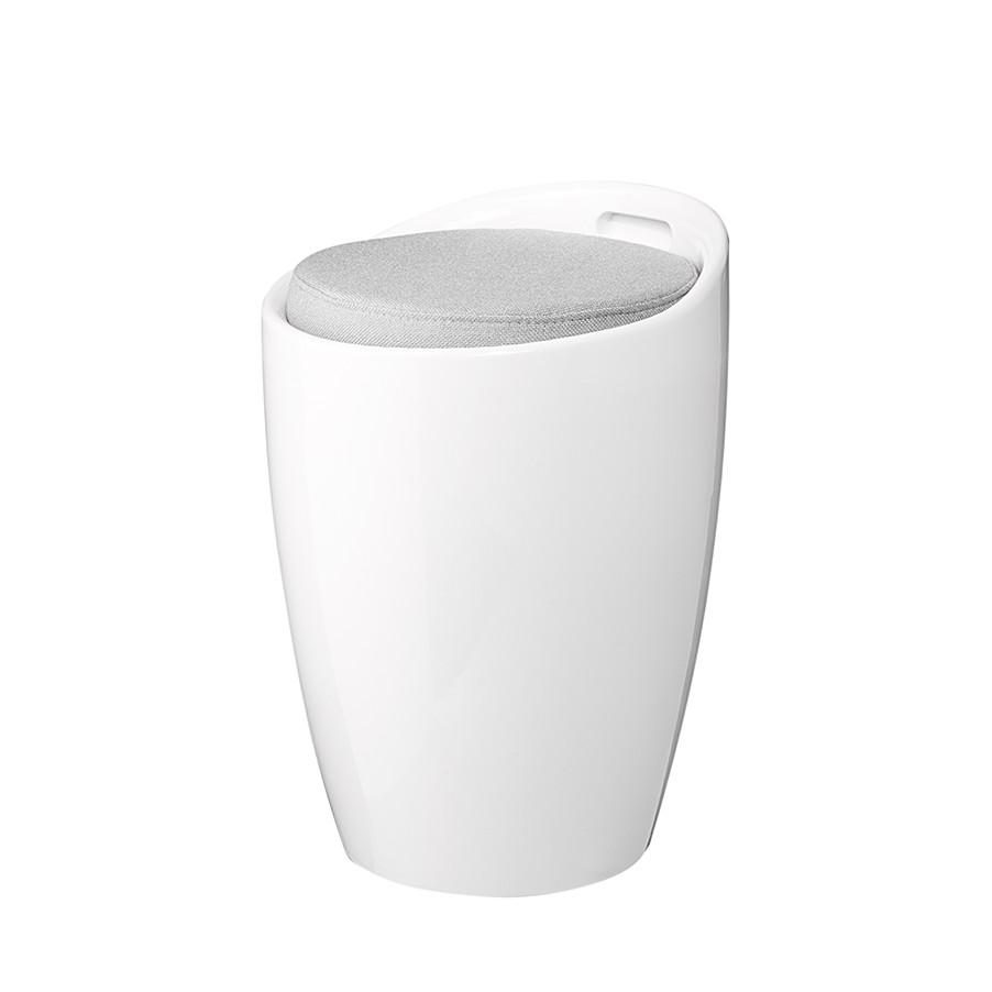 Hocker Honolulu – Kunststoff/Stoff – Weiß/Grau, Fredriks jetzt kaufen