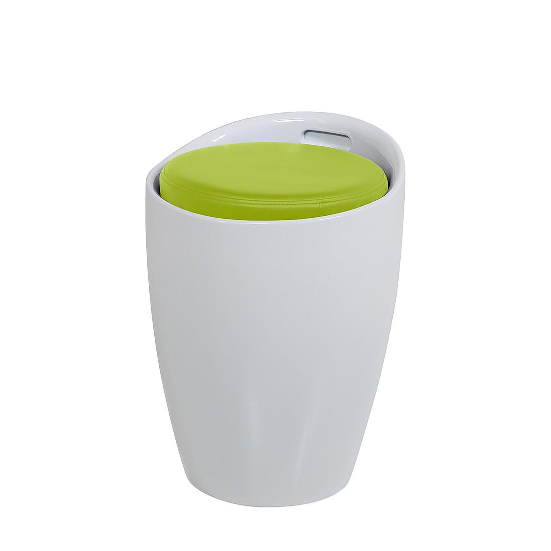 Hocker Honolulu – Kunststoff/Kunstleder – Weiß/Hellgrün, Fredriks günstig kaufen