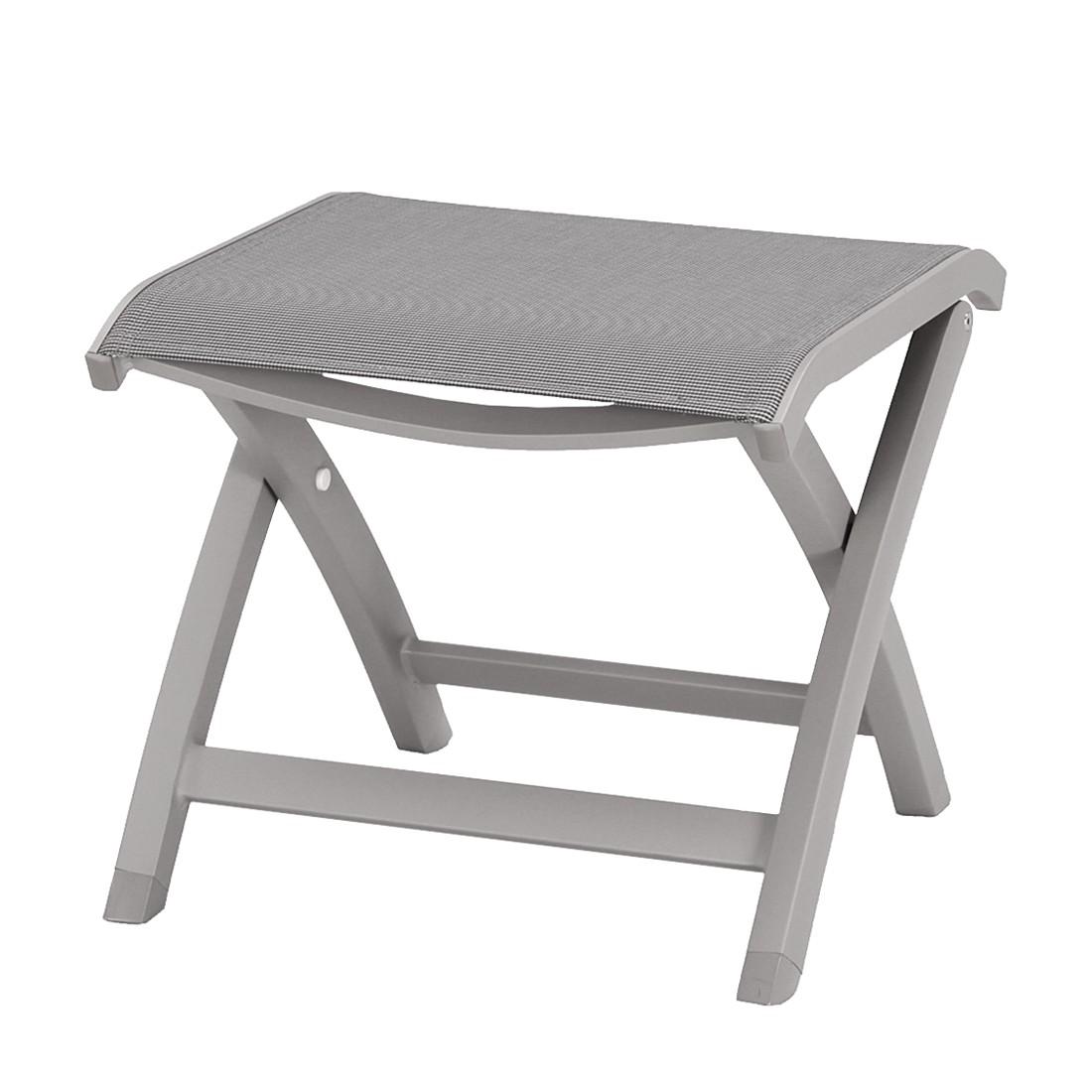 Hocker Larino - Aluminium/Ergotex - Taupe, Best Freizeitmöbel