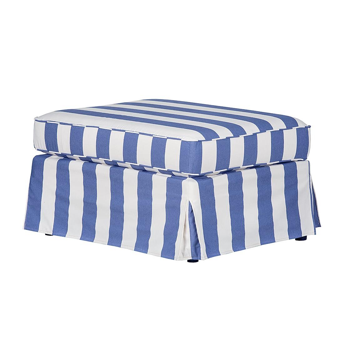 Hocker Louanne – Webstoff Blau gestreift, Jack & Alice jetzt kaufen