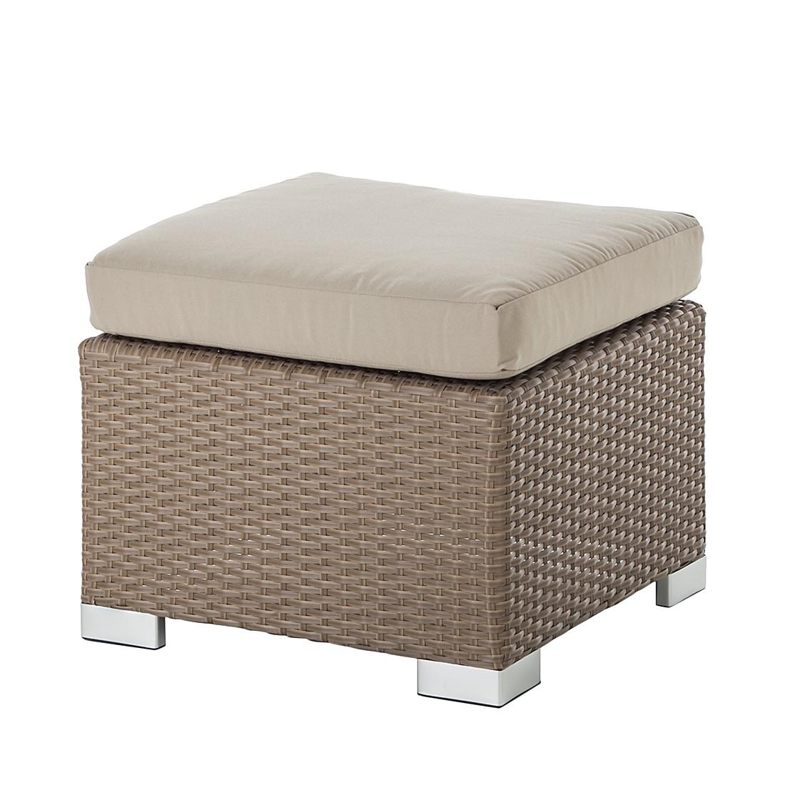 hocker rattanesco puca polyrattan textil braun beige. Black Bedroom Furniture Sets. Home Design Ideas