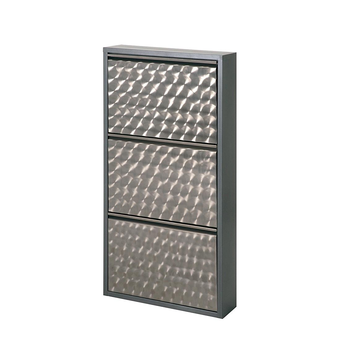 Schuhschrank Cabinet - Silber Geflext (4 Klappen - Höhe 140 cm ...