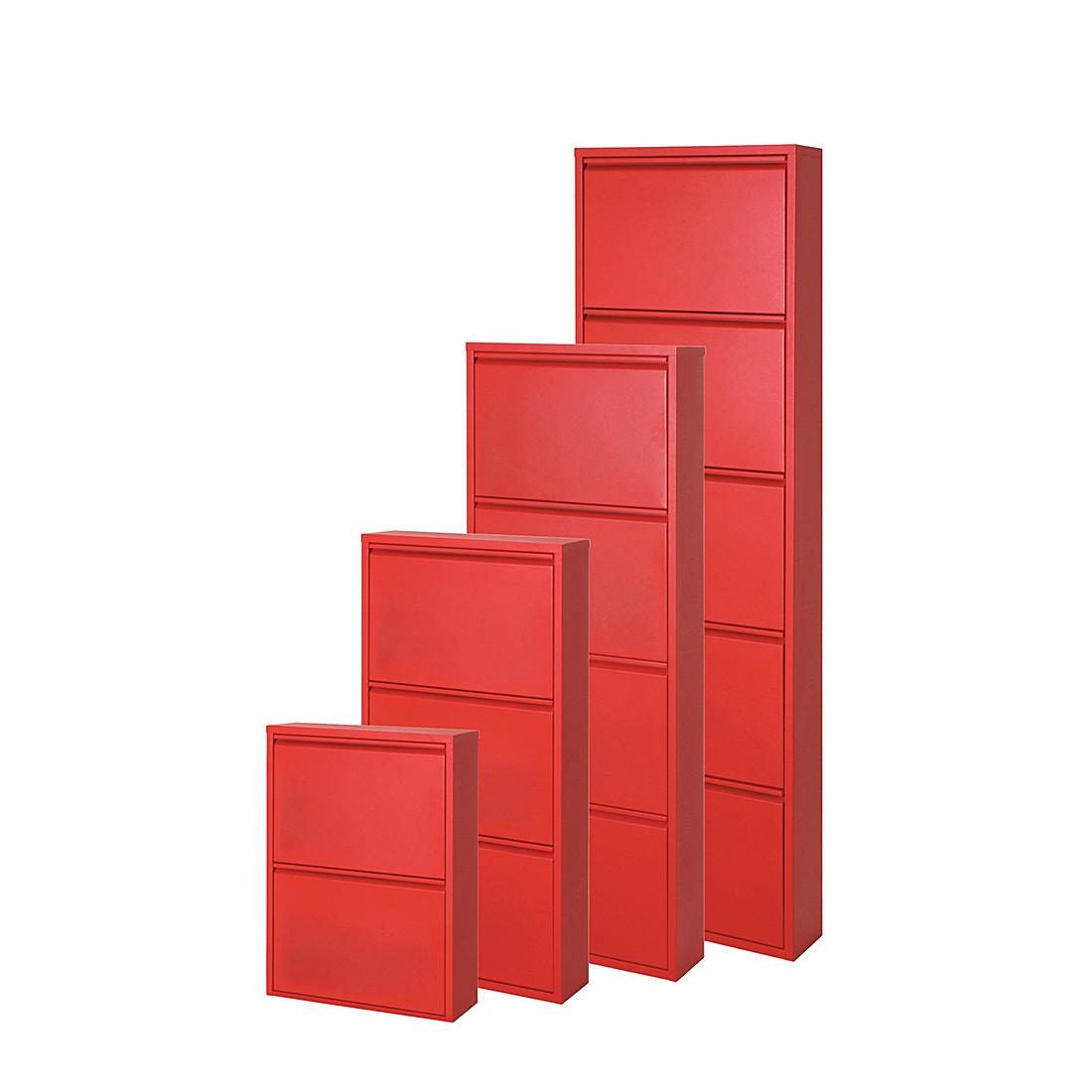 Schuhschrank Cabinet – Rot – 2 Klappen – Höhe 70 cm, Magazin-Möbel günstig