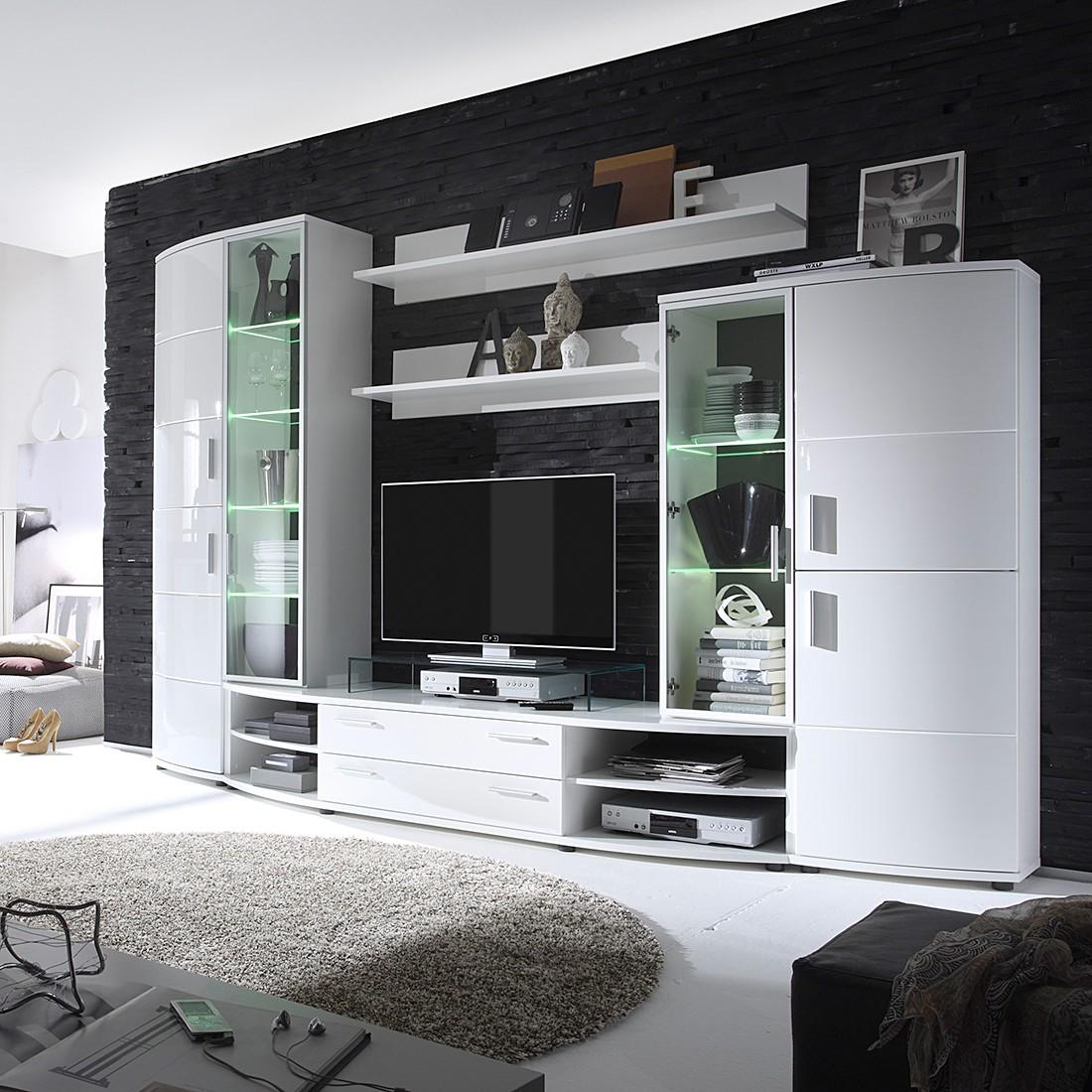 Wohnwand Zorc (5-teilig) – Hochglanz Weiß, roomscape bestellen