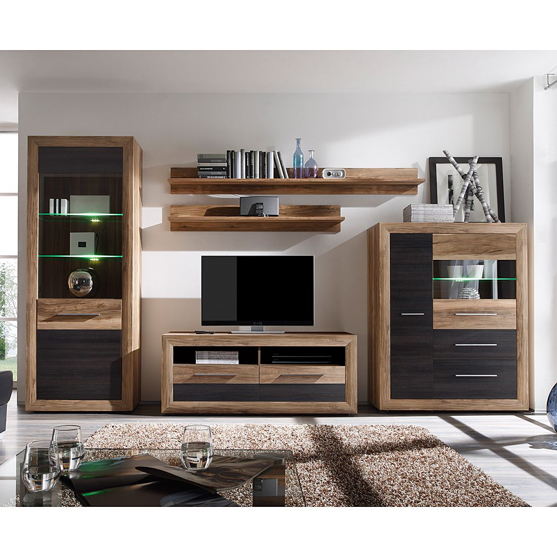 wohnwand holz modern. Black Bedroom Furniture Sets. Home Design Ideas
