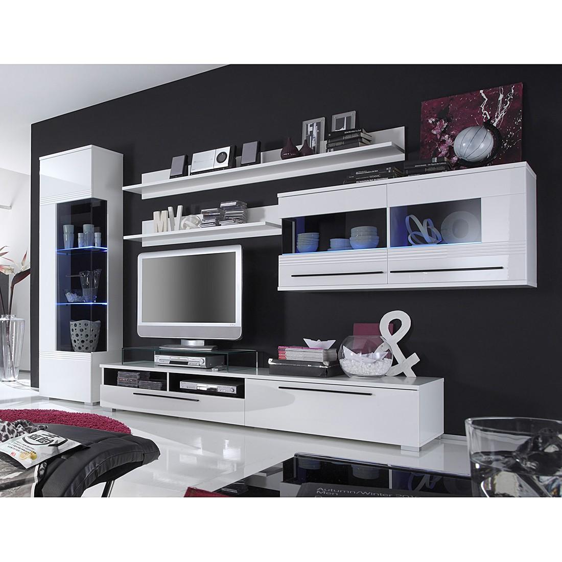 Wohnwand Tuby (5-teilig) – Hochglanz Weiß – foliert, roomscape jetzt bestellen