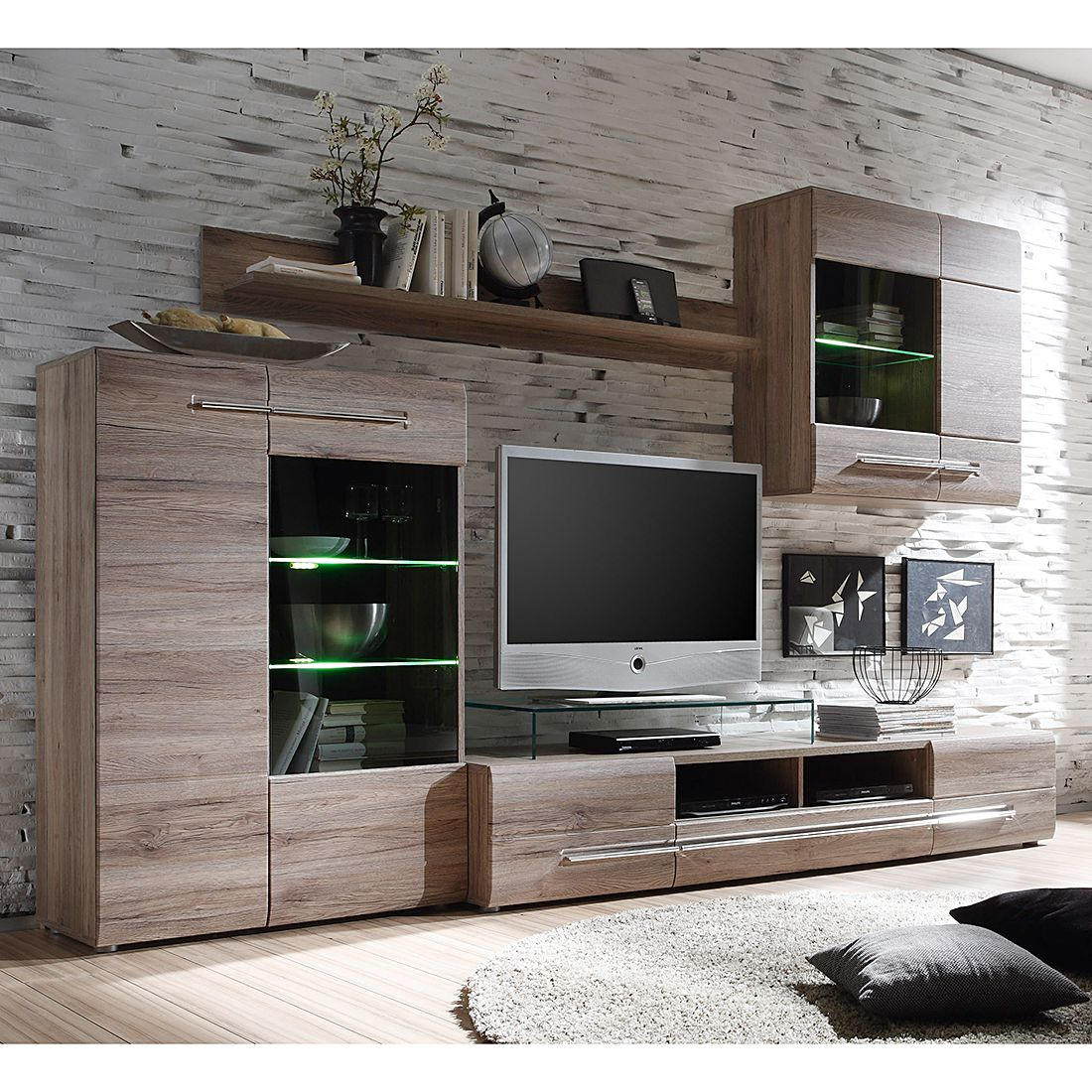 wohnwand robaa 4 teilig eiche sanremo dunkel dekor modoform kaufen. Black Bedroom Furniture Sets. Home Design Ideas