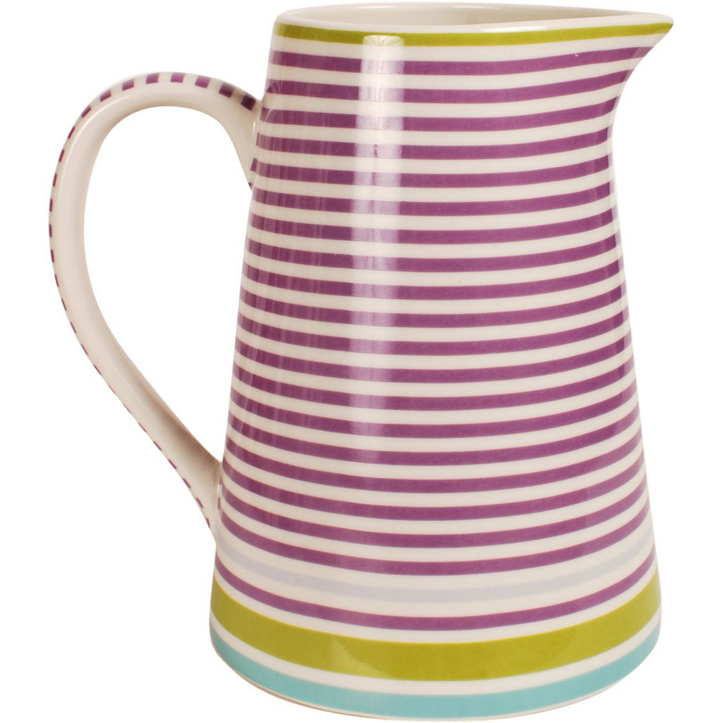 jug design stripe lilac new bone china porzellan kanne mit sch ne streifen in lilafarben. Black Bedroom Furniture Sets. Home Design Ideas