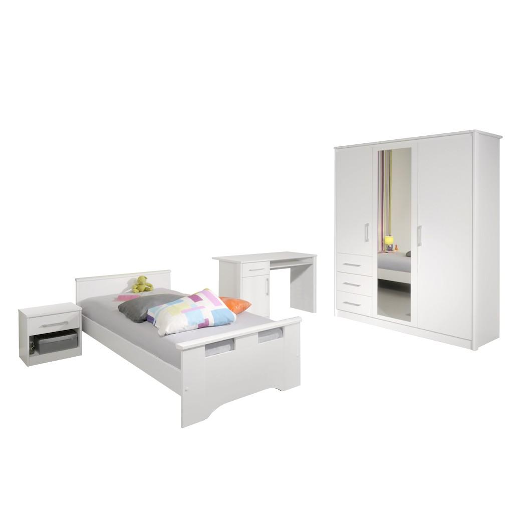 Jugendschlafzimmer komplett Murphy (4-teilig) – Weiß – Bett, Nachtkonsole, Schrank und Schreibtisch, Young Furn günstig kaufen
