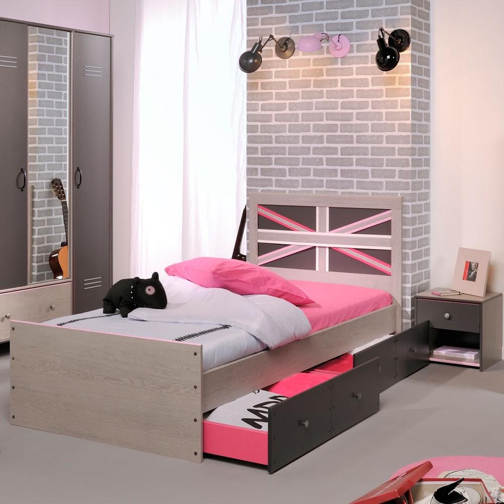 Jugendschlafzimmermöbel Set Belliona (4-teilig) – Grau/Esche Dekor – Bett mit Schubkästen & Nachttisch, Young Furn günstig bestellen