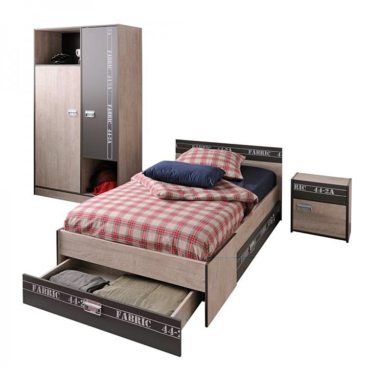 Jugendzimmer set fabric i 3 teilig esche grau mit for Jugendzimmer set mit eckschrank