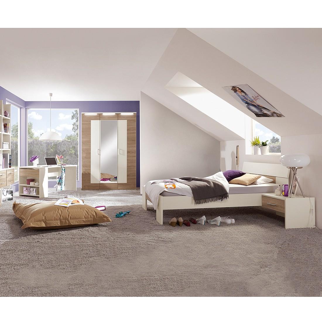 EEK A+, Jugendzimmerkombination Vegas Plus (5-teilig) - 140 x 200cm - Mit Beleuchtung, röhr