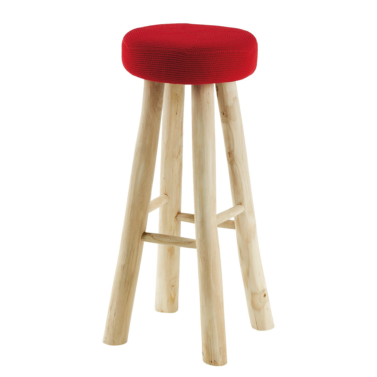 Tabouret de bar Abbeville Teck massif Rouge Teck naturel