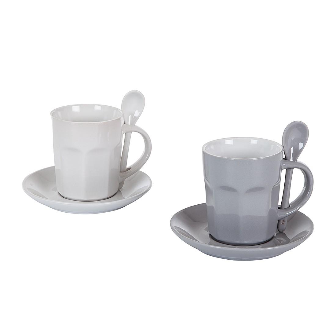 Kaffee-Set Intermezzo (2-teilig) – weiß/grau, Contento günstig