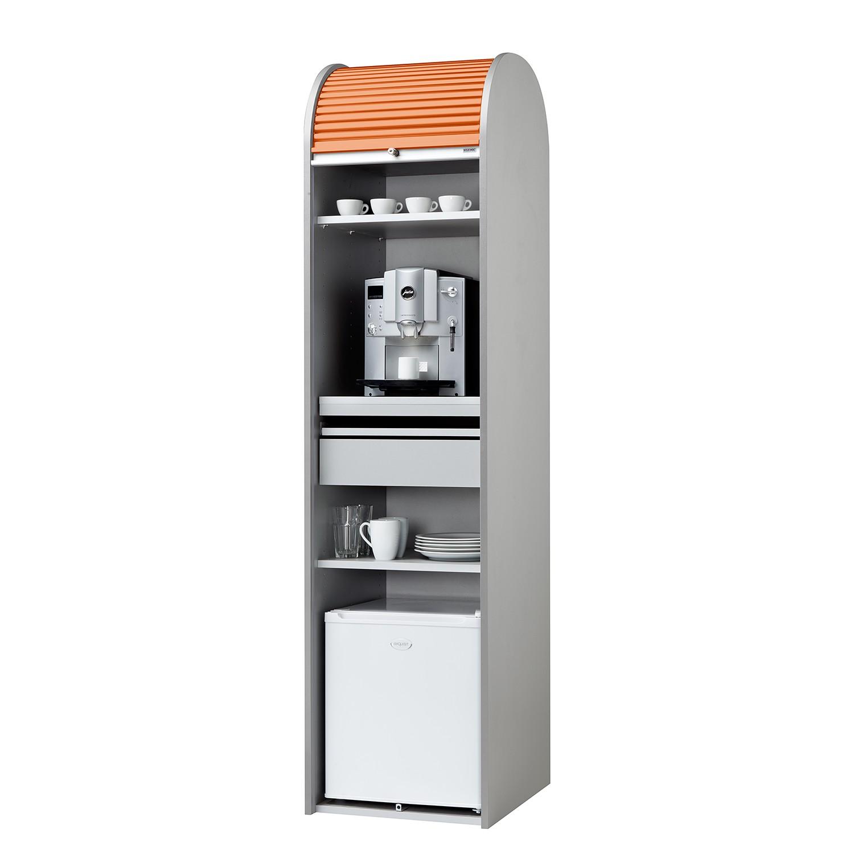 Büroschrank Dancer - Silber - Orange - Mit Kühlschrank, MS Schuon