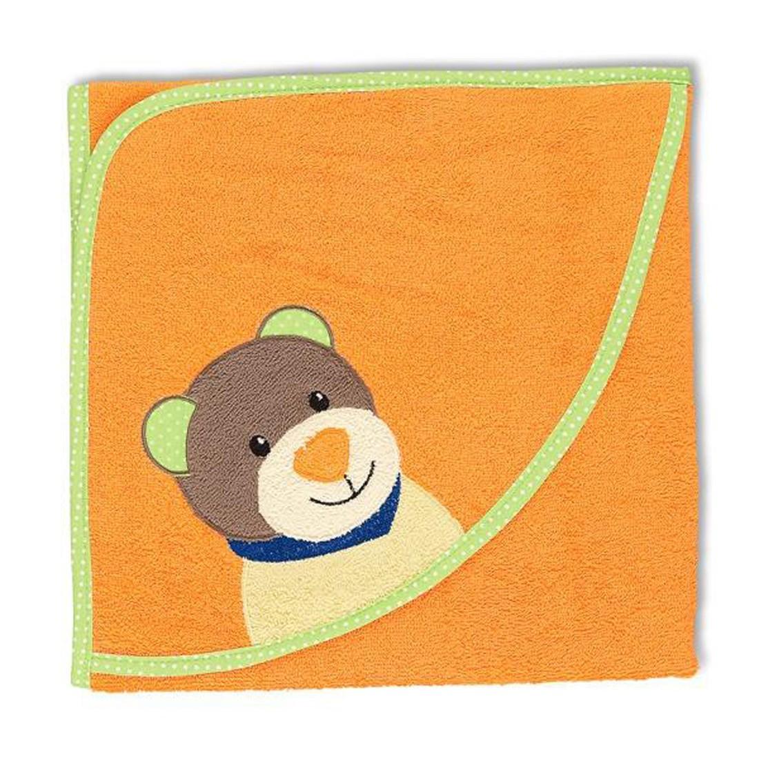 Kapuzenbadetuch Benno – Baumwolle – Apricot – 80×80, Sterntaler online kaufen