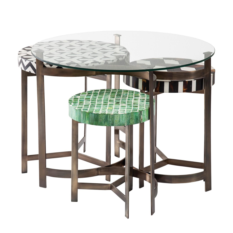 Couchtisch Musivo Round (4-teilig) - Edelstahl - Braun / Weiß, Kare Design