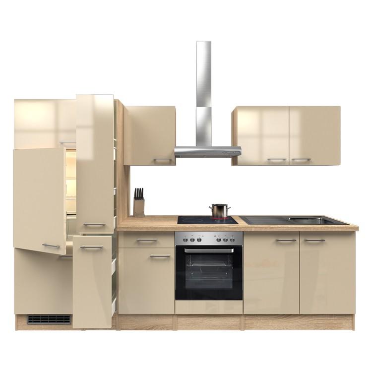 Küchenzeile Finn – Einbaugeräte – Spüle – 300 cm – Kaschmir – Eiche Sonoma Dekor, Modus Küchen günstig