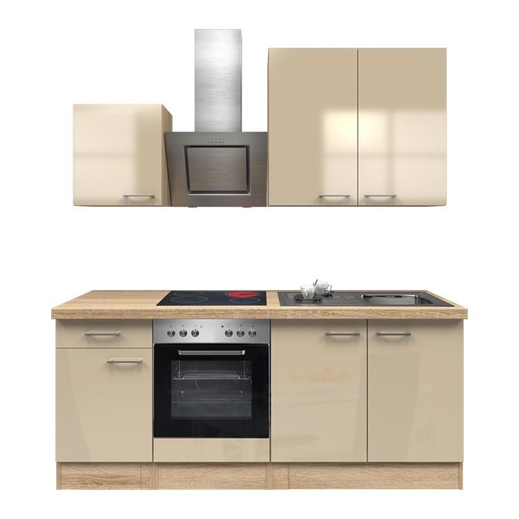 Küchenzeile Louis – Einbaugeräte – Spüle – 210 cm – Kaschmir – Eiche Sonoma Dekor, Modus Küchen günstig online kaufen