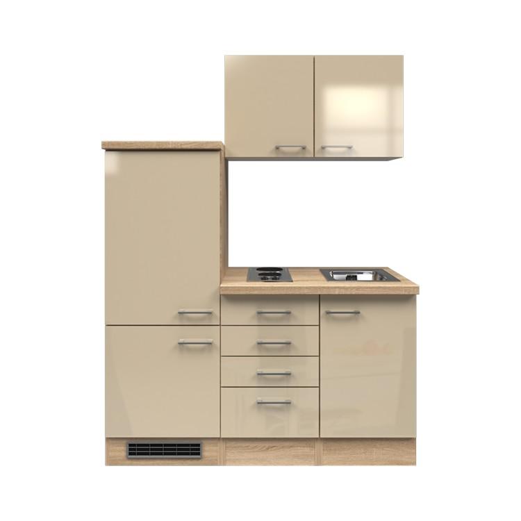 Küchenzeile Timm – Einbaugeräte – Spüle – 160 cm – Kaschmir – Eiche Sonoma Dekor, Modus Küchen günstig kaufen