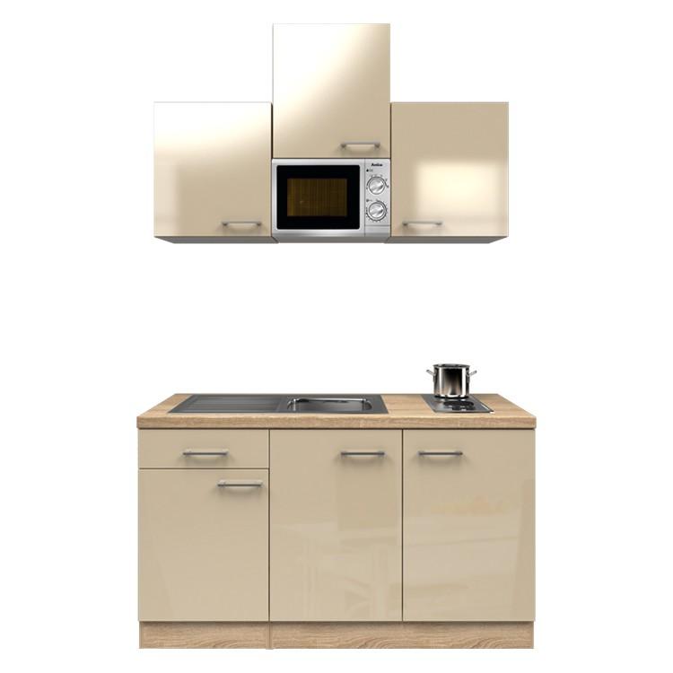 Küchenzeile Anton – Einbaugeräte – Spüle – 150 cm – Kaschmir – Eiche Sonoma Dekor, Modus Küchen jetzt bestellen