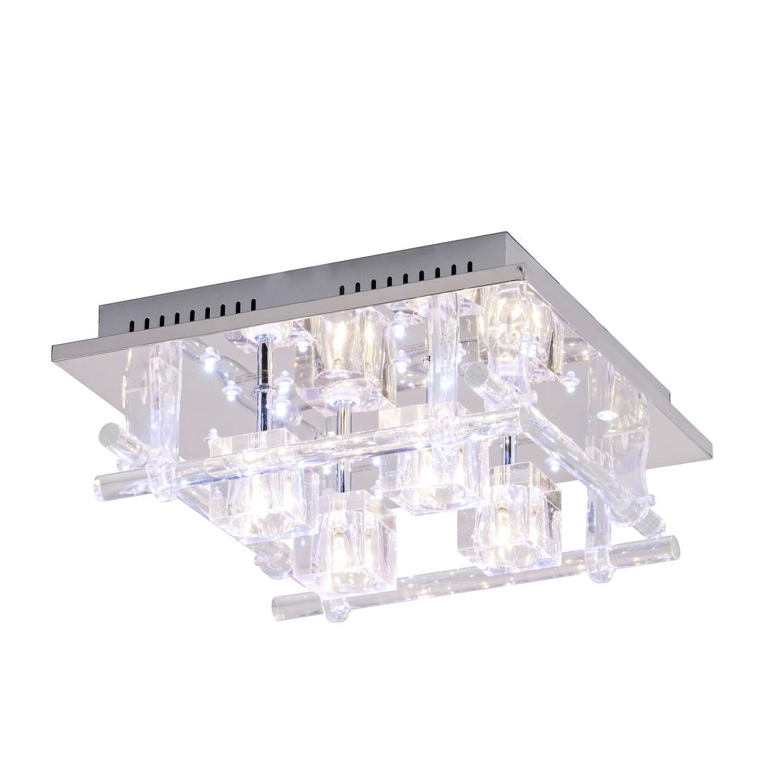 Led deckenleuchte kemal metall glas silber leuchten for Deckenleuchte glas