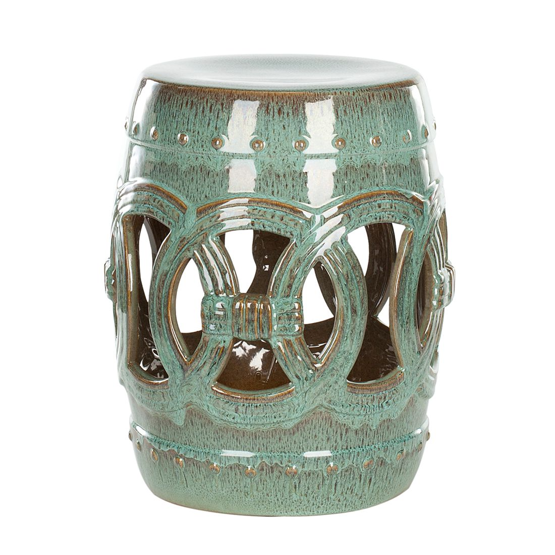 Keramikhocker Double Coin – Türkis, Safavieh bestellen