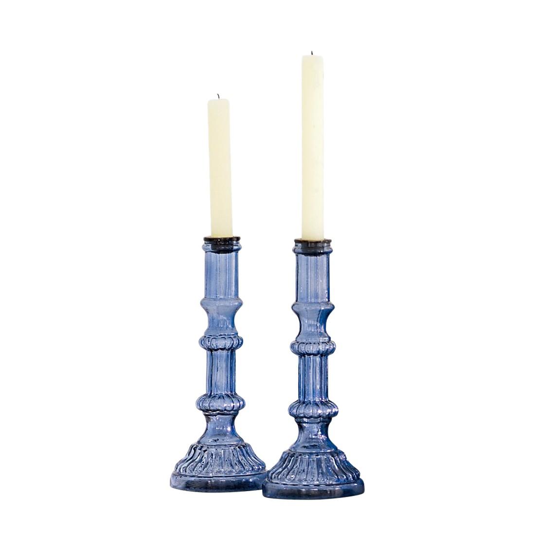 Kerzenständer 2er Set Soho – Glas blau, Loberon günstig bestellen