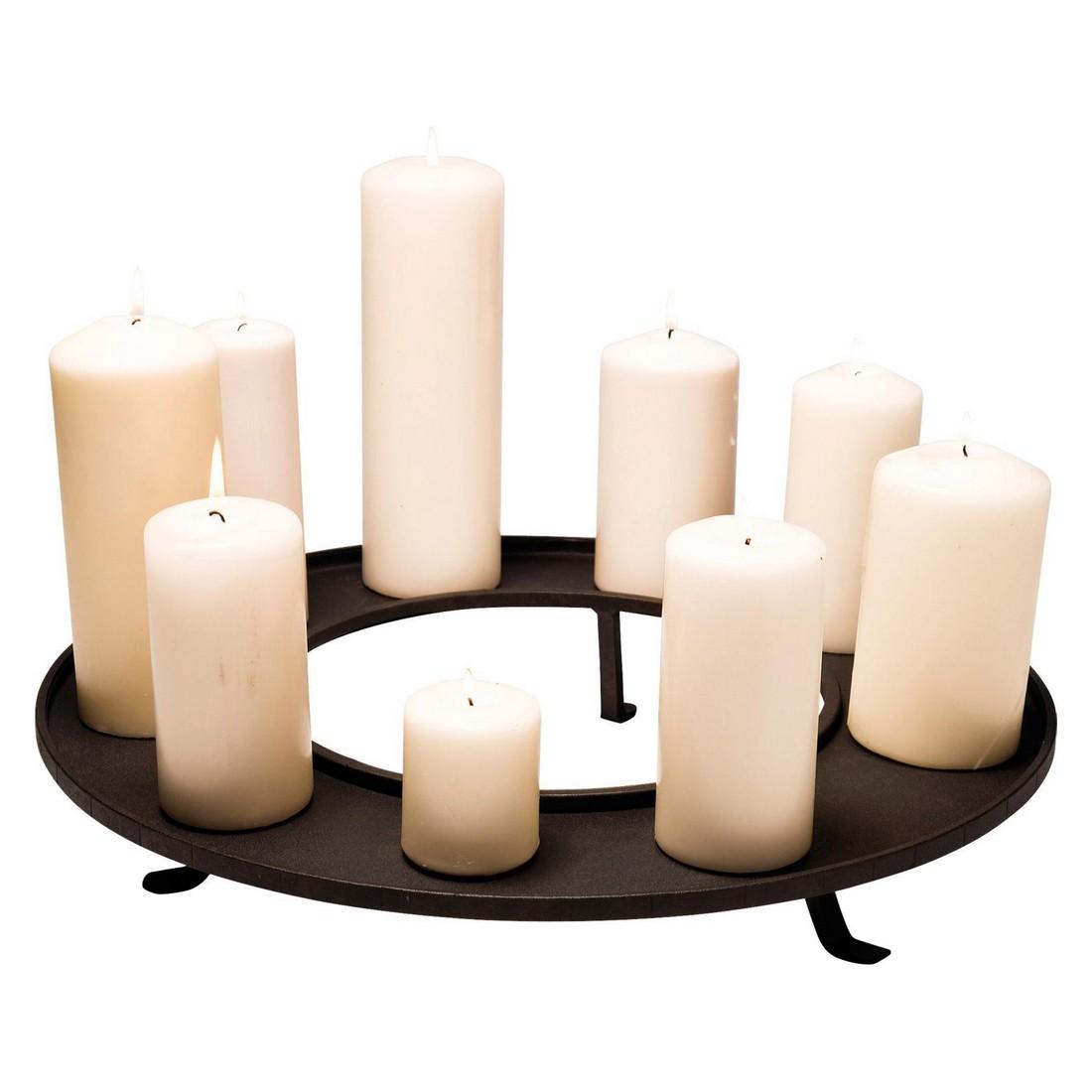Kerzentablett Castle Table Round – Eisen lackiert Antikoptik, outdoor-geeignet, für Kerzen max. Dia 9cm Schwarz, Kare Design online kaufen