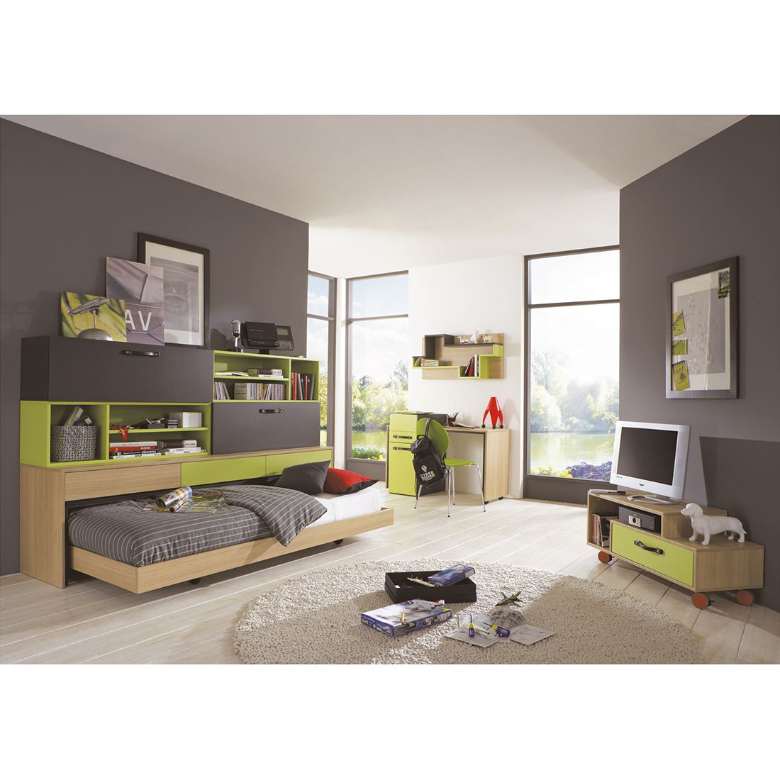 kinder jugendzimmerkombi hard rock 9 teilig eiche s gerau gr n anthrazit ticaa. Black Bedroom Furniture Sets. Home Design Ideas
