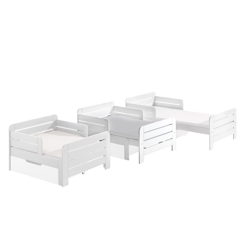 Kinderbett Jumper (mit Ausziehfunktion) - Kiefer massiv - Weiß - 140 - 200 cm, Vipack