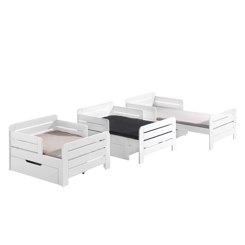 Kinderbett Jumper (mit Ausziehfunktion) - Kiefer massiv - Weiß - 140 - 200 cm - Mit Schublade & Matratze, Vipack