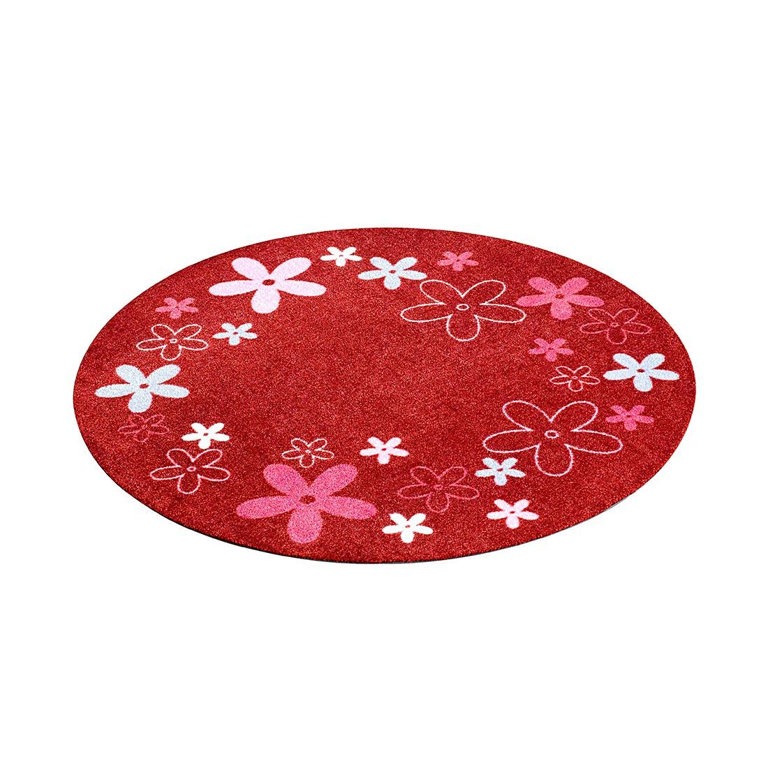 kinderteppich flower field rund rot zala living g nstig online kaufen. Black Bedroom Furniture Sets. Home Design Ideas