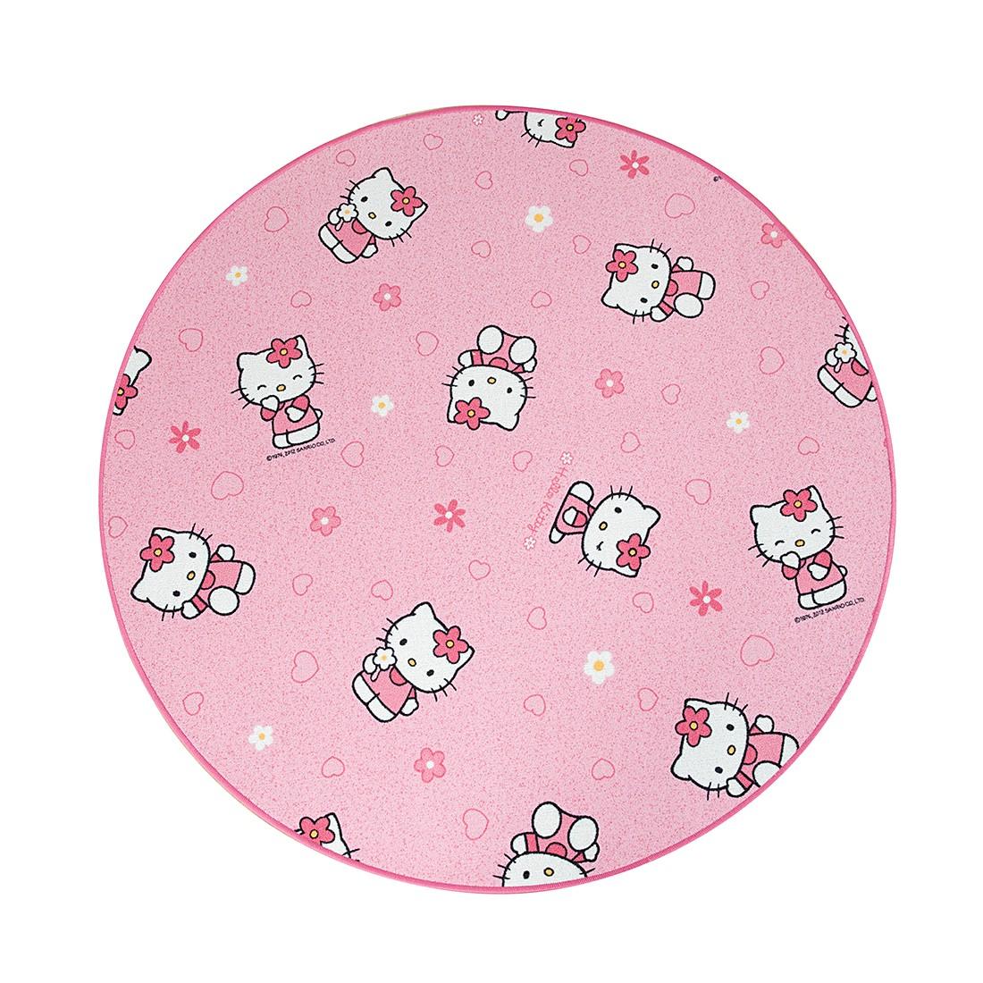 Kinderteppich Hello Kitty (rund) – Pink – Durchmesser: 160cm, Testil günstig