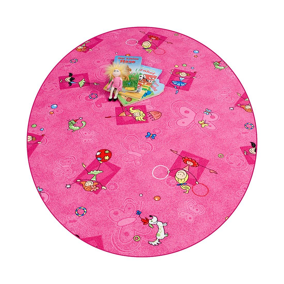 Kinderteppich Prinzessin – Pink – Durchmesser: 133cm, Testil bestellen