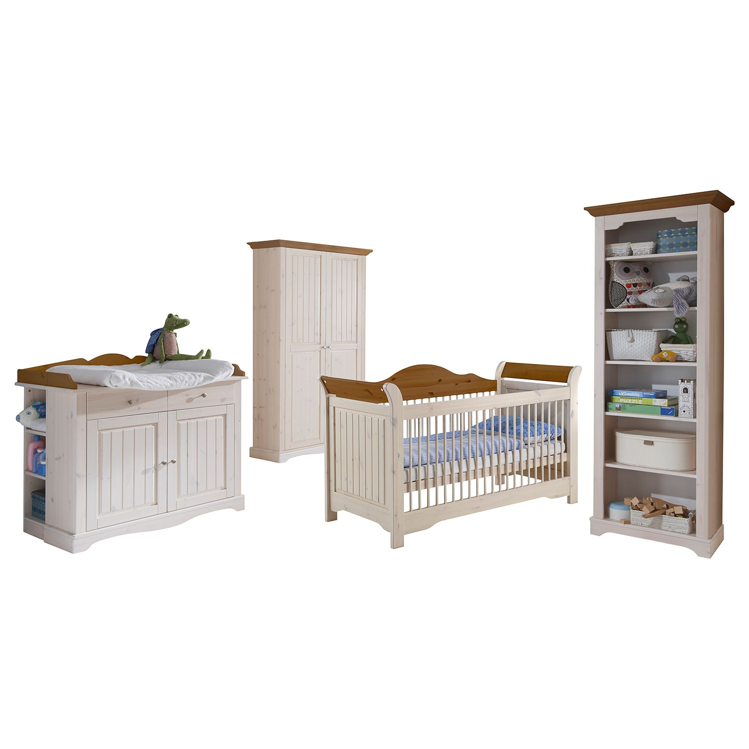 Kinderzimmerkombination Karlotta (4-tlg.) - Kiefer massiv - White Wash / Provence, Steens