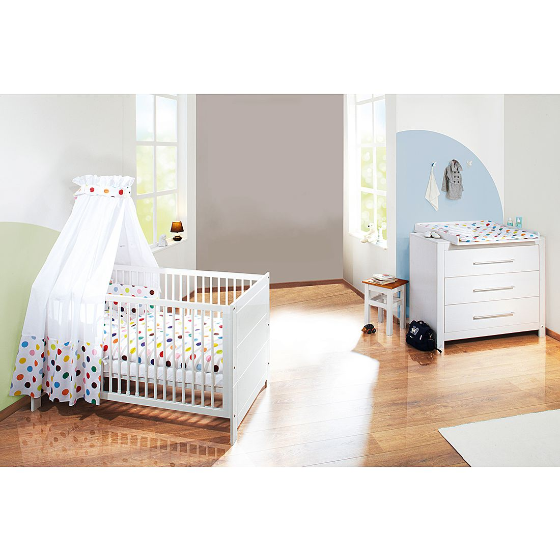 sparset rock star 2 teilig babybett wickelkommode wei grau roba g nstig kaufen. Black Bedroom Furniture Sets. Home Design Ideas