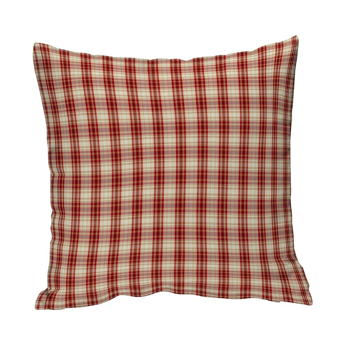 Kissenhülle – Beige/Rot Kariert – 43×43 cm, Dekoria günstig online kaufen