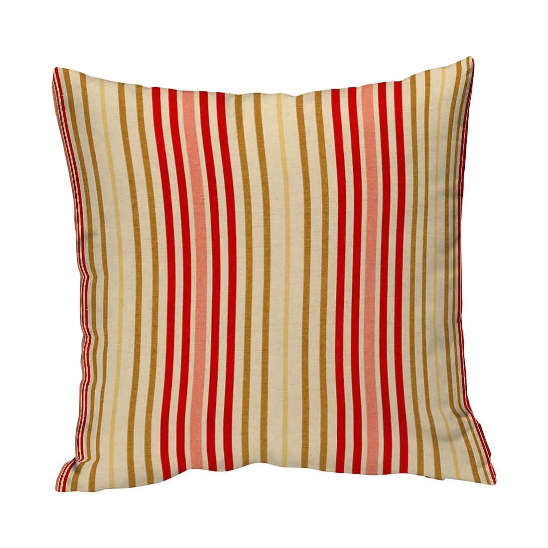 Kissenhülle - Rote Streifen Beige - 60x60 cm, Dekoria