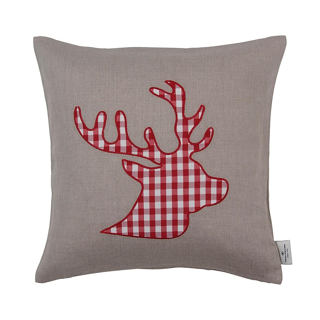 Kissenhülle T-Deer (40×40 cm) – Natur/Rot, Tom Tailor günstig kaufen