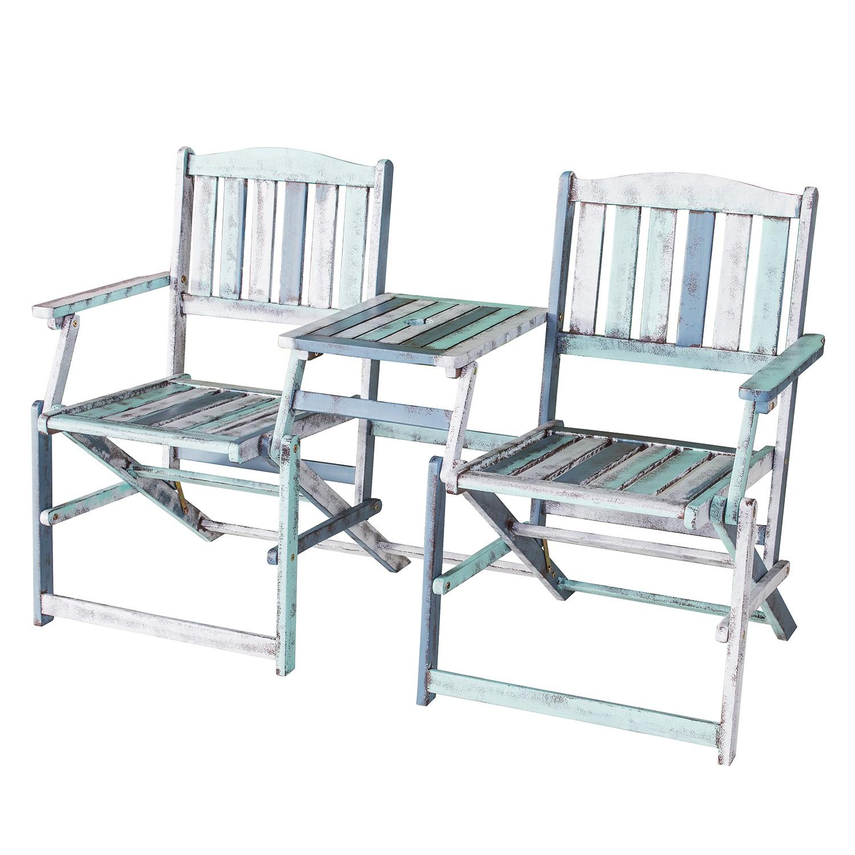 Klappbank antibes akazie massiv wei gr n blau for Tisch nordisches design