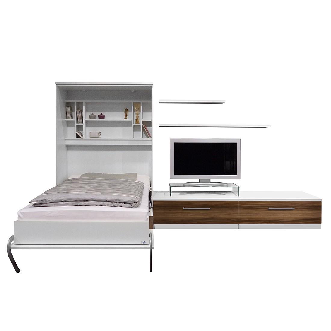 Schrankbett-Kombination Majano - 86 x 205cm - Schaumstoffmatratze - Weiß / Nussbaum Dekor, Modoform