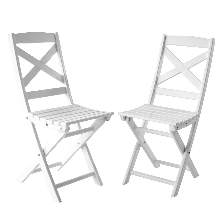 Klappstuhl Lotta (2er-Set) - Kiefer massiv - Weiß, Gardenho.me